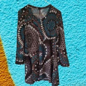 Win Win Hippie Bohemian Turquoise & Brown Small V Neck Top with Trumpet Sleeves